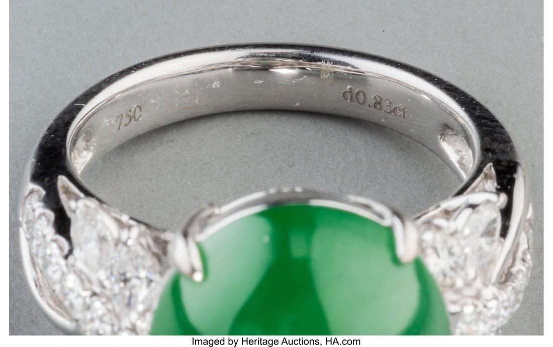 55206: Jadeite Jade, Diamond, White Gold Ring  The ring - 3