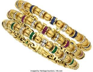 55038: Multi-Stone, Diamond, Gold Bracelets, Charles Kr