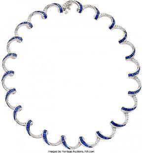 55344: Diamond, Sapphire, Platinum Necklace, Charles Kr