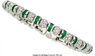 55258: Diamond, Emerald, Platinum Bracelet, Charles Kry