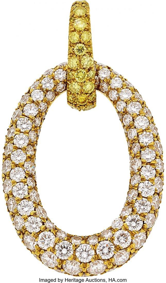 55270: Diamond, Yellow Sapphire, Gold Pendant  The pend - 4