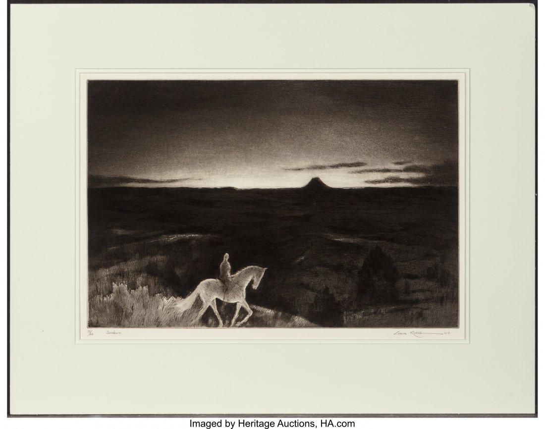 61055: Gene Kloss (American, 1903-1996) Sundown Etching - 2