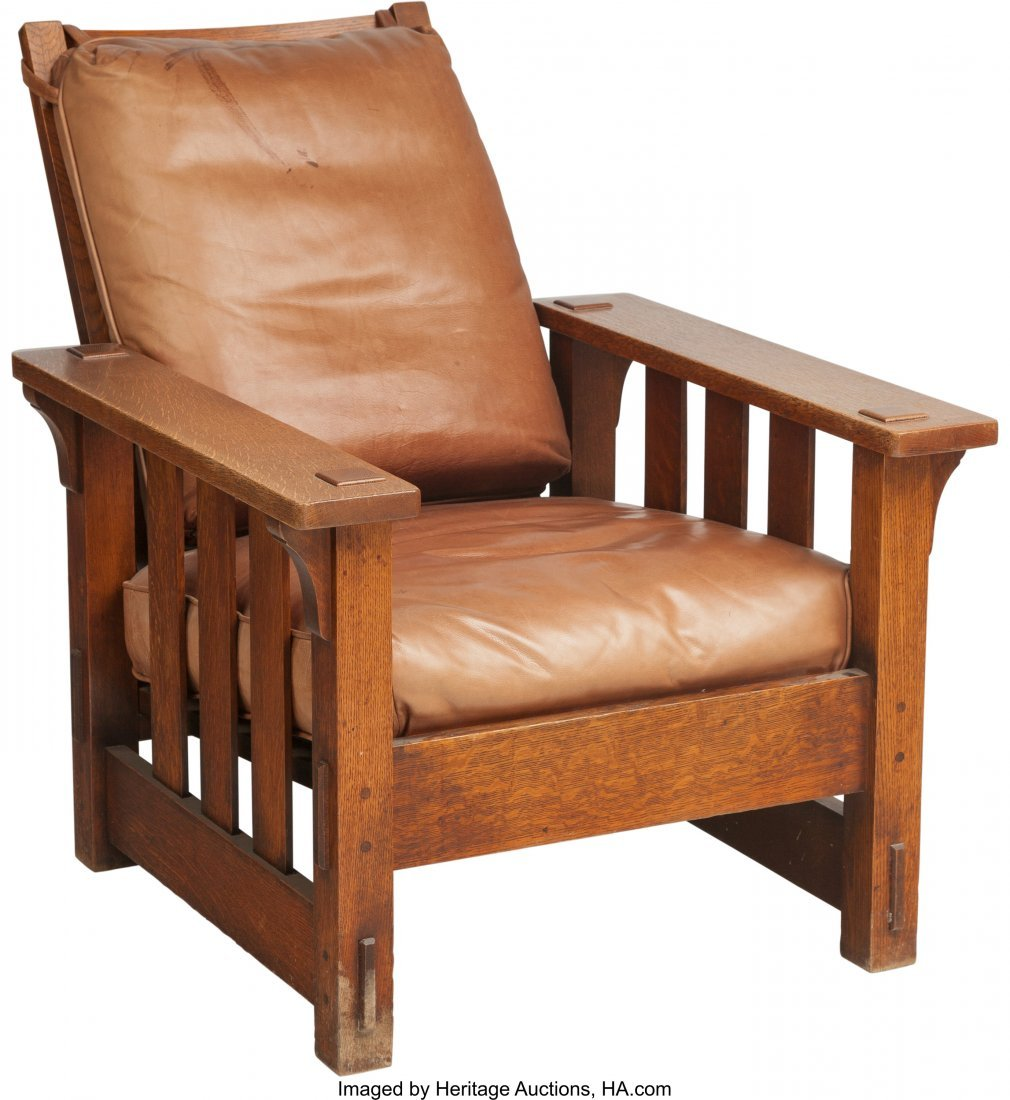 61159: A Charles Stickley Arts & Crafts Oak Morris Chai - 3