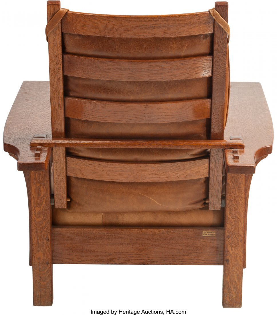 61164: A Stickley Oak Morris Chair with Leather Cushion - 2