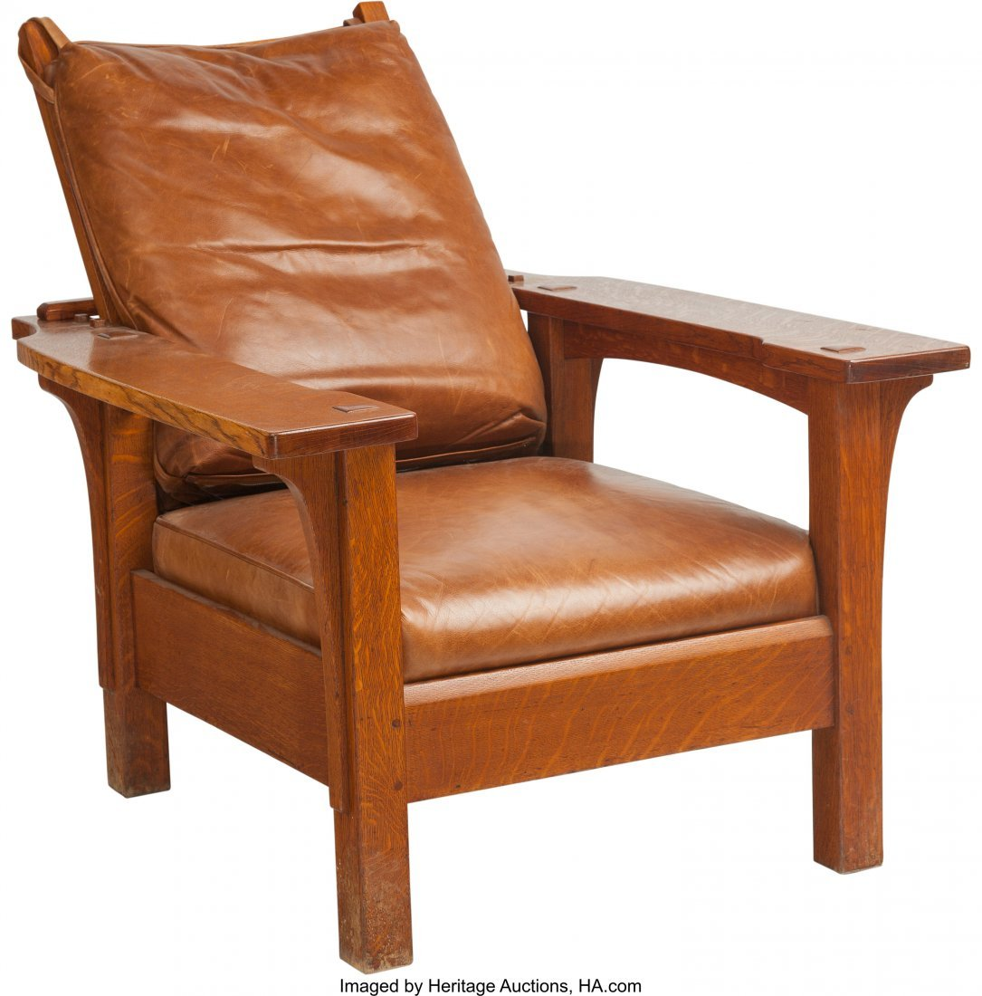 61164: A Stickley Oak Morris Chair with Leather Cushion - 3