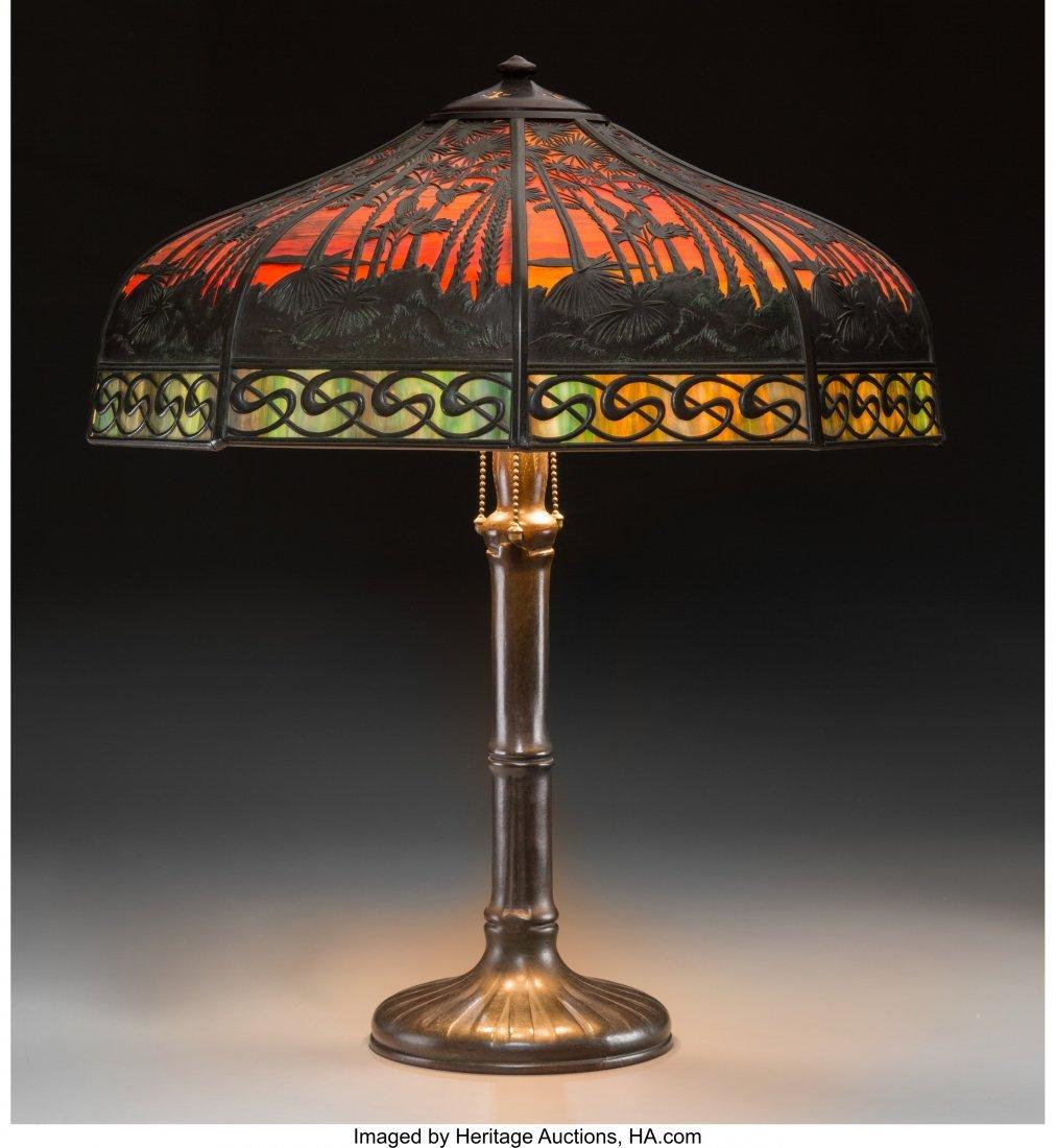 61285: A Handel Slag Glass Lamp with Exotic Desert Moti
