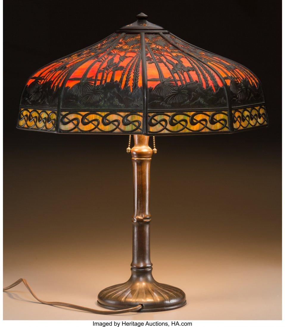 61285: A Handel Slag Glass Lamp with Exotic Desert Moti - 2