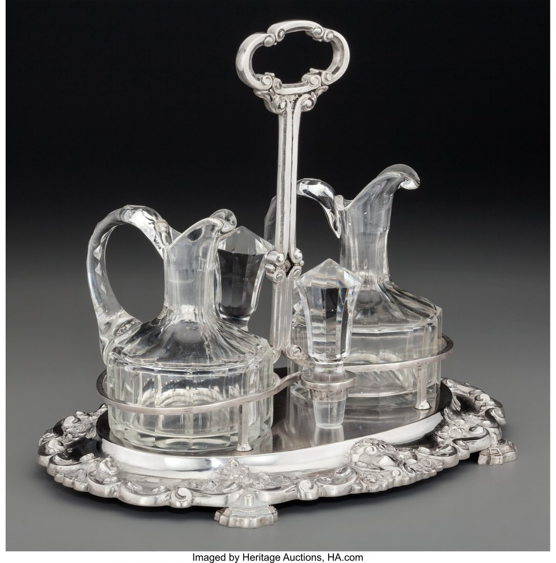 61190: A Portuguese Silver and Cut-Glass Cruet Set, Por