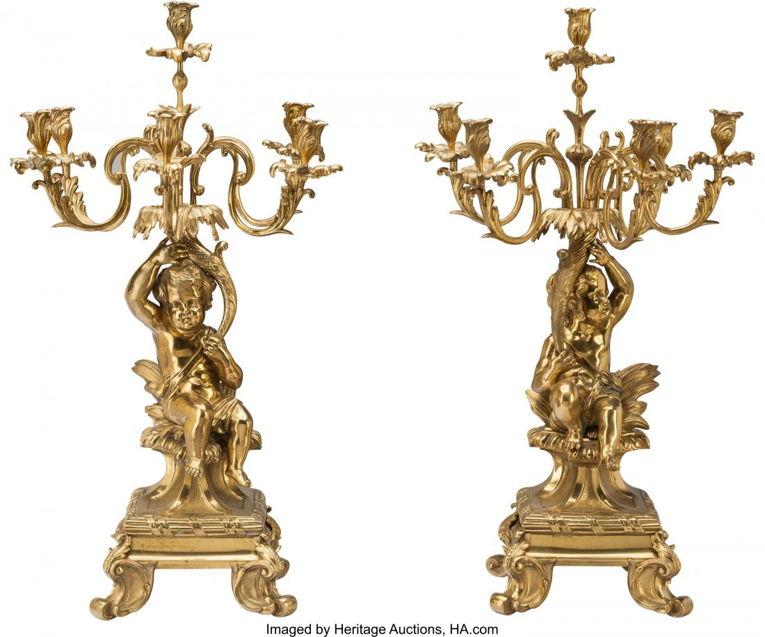 61229: A Pair of Louis XVI-Style Bronze Six-Light Figur
