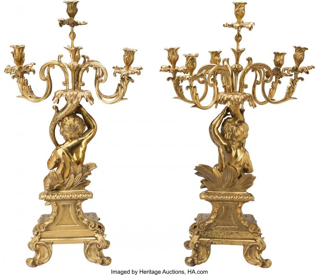 61229: A Pair of Louis XVI-Style Bronze Six-Light Figur - 2