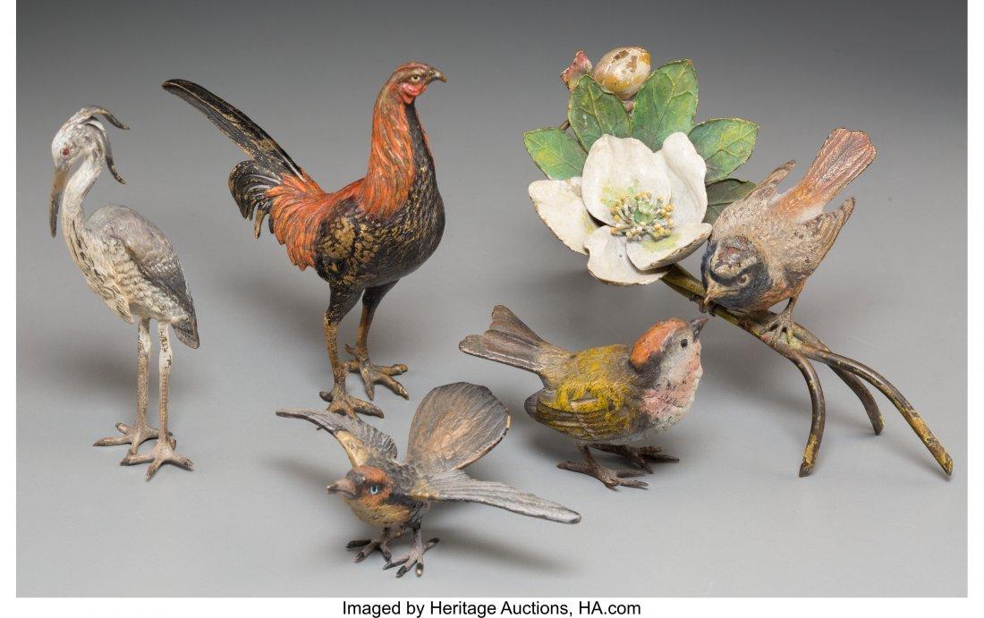 61337: Five Bergman-Style Cold-Painted Bronze Birds 4-5