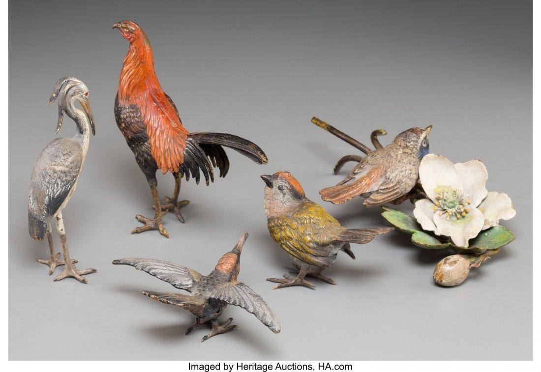61337: Five Bergman-Style Cold-Painted Bronze Birds 4-5 - 2