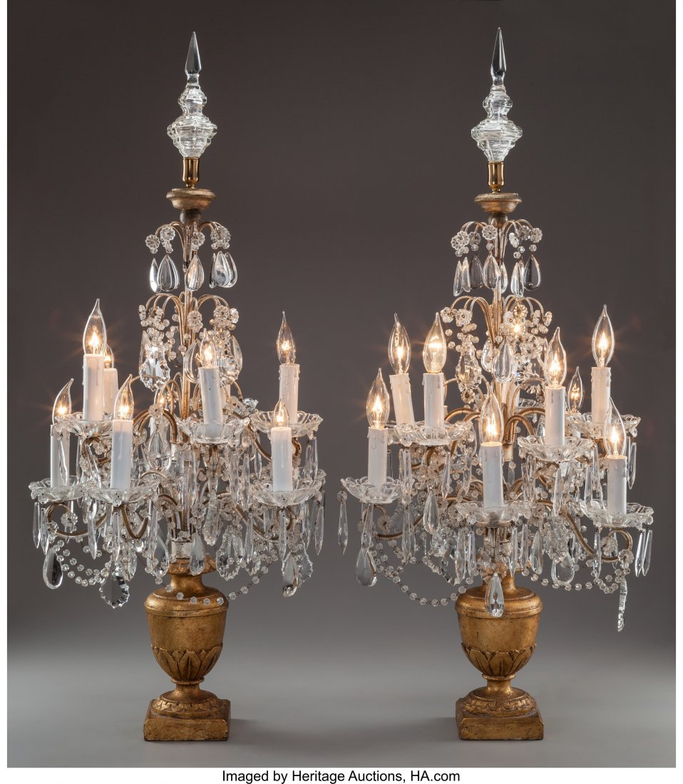 61475: A Pair of French Cut-Glass and Giltwood Ten-Ligh