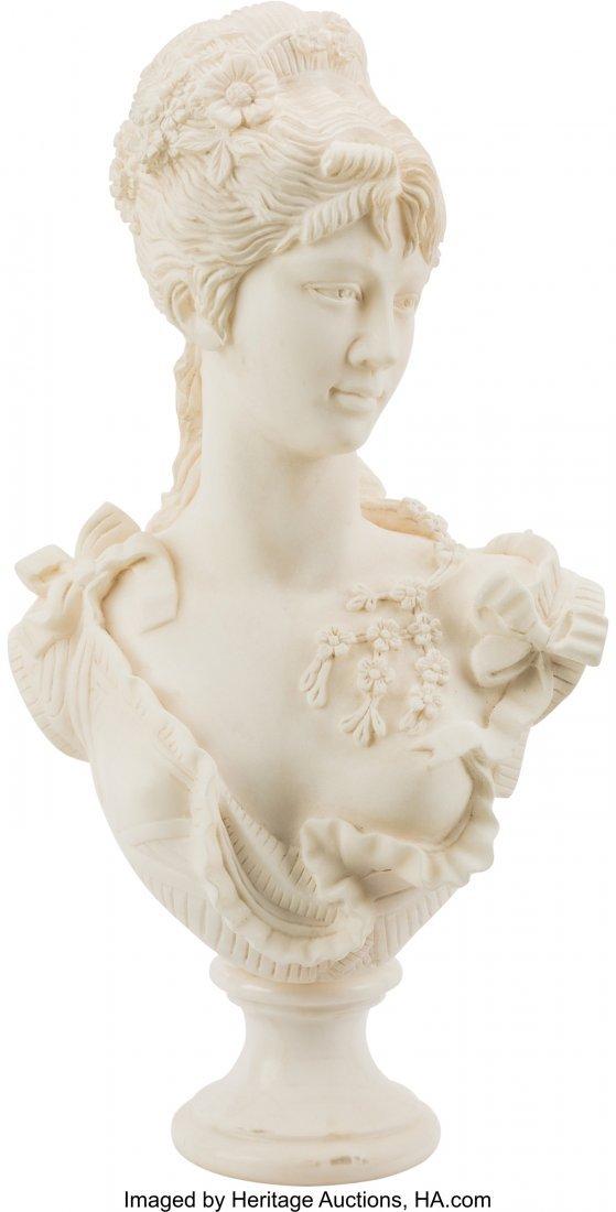 61477: An Italian Carved Carrara Marble Bust of a Woman