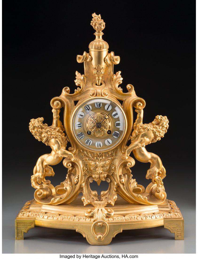 61466: A Louis XV-Style Gilt Bronze Figural Mantel Cloc