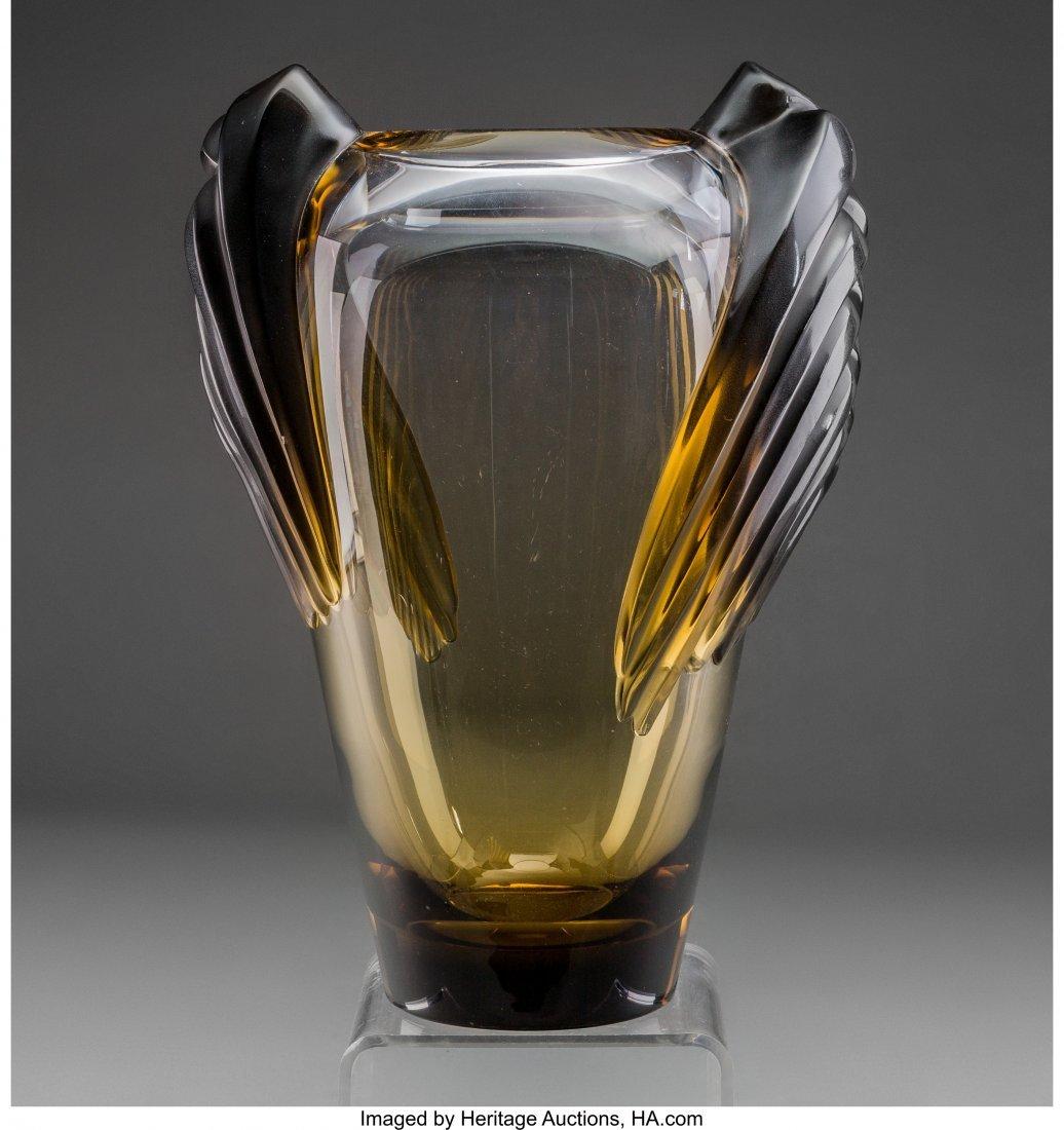 61575: A Lalique Smoky Topaz Glass Marrakech Vase, post