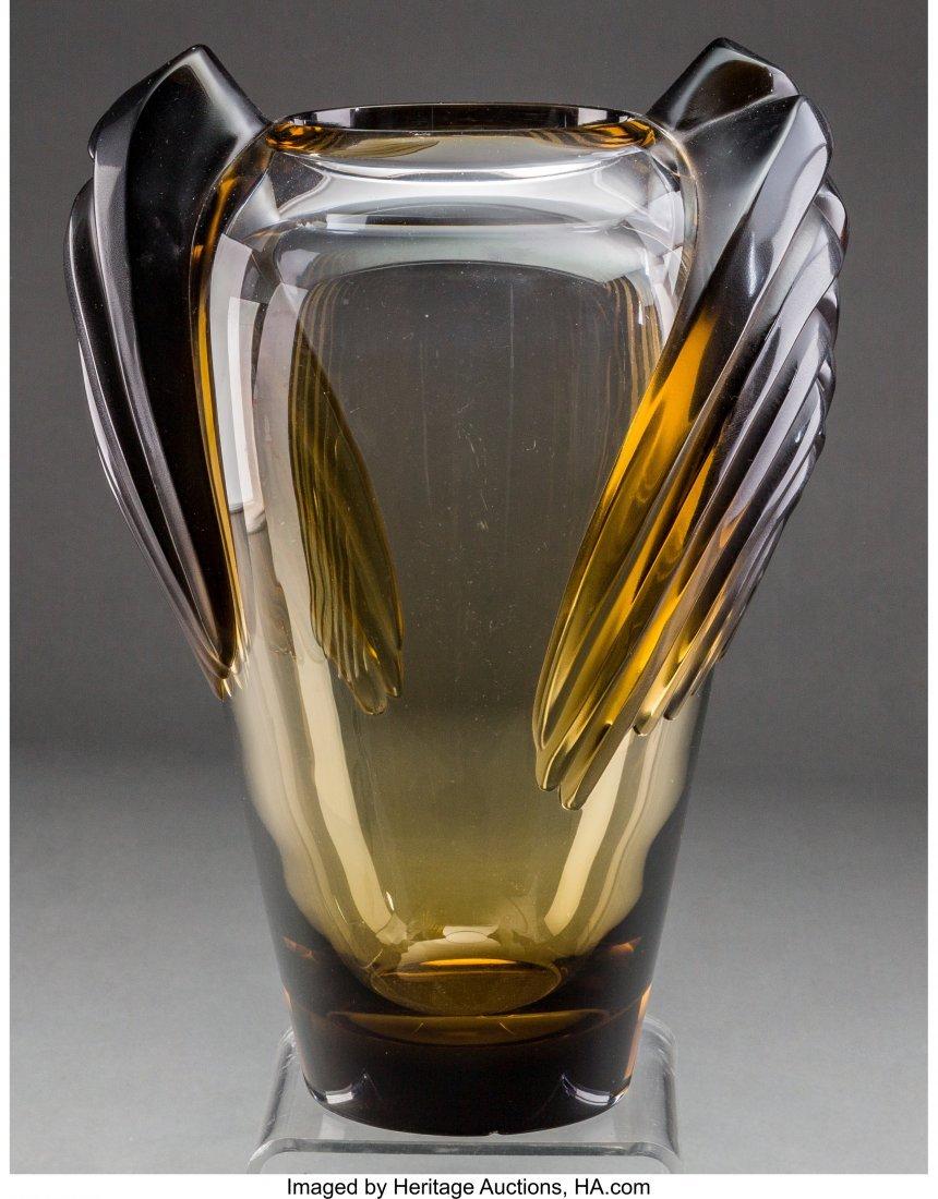 61575: A Lalique Smoky Topaz Glass Marrakech Vase, post - 2