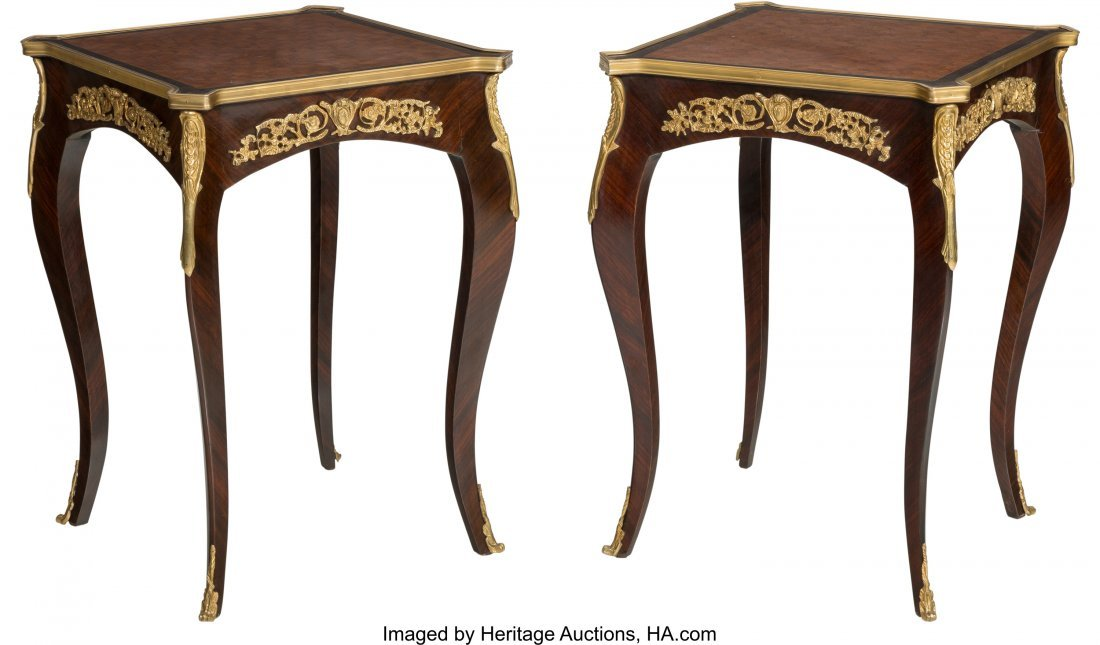 61491: A Pair of Louis XVI-Style Mahogany, Parquetry, a