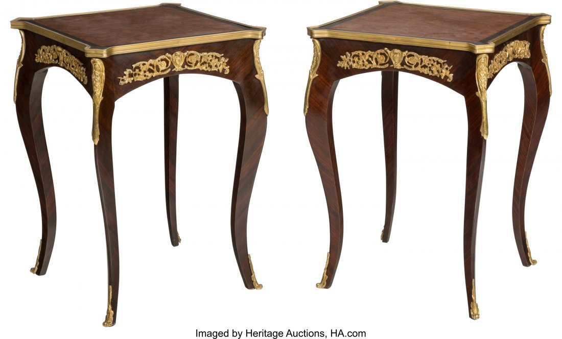 61491: A Pair of Louis XVI-Style Mahogany, Parquetry, a - 2