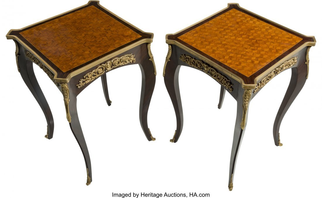61491: A Pair of Louis XVI-Style Mahogany, Parquetry, a - 3