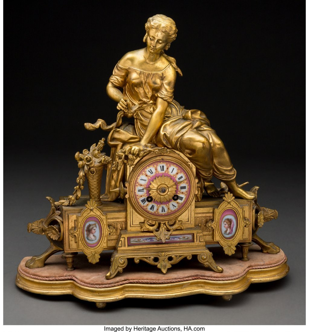 61472: A French Louis XVI-Style GIlt Bronze and Porcela