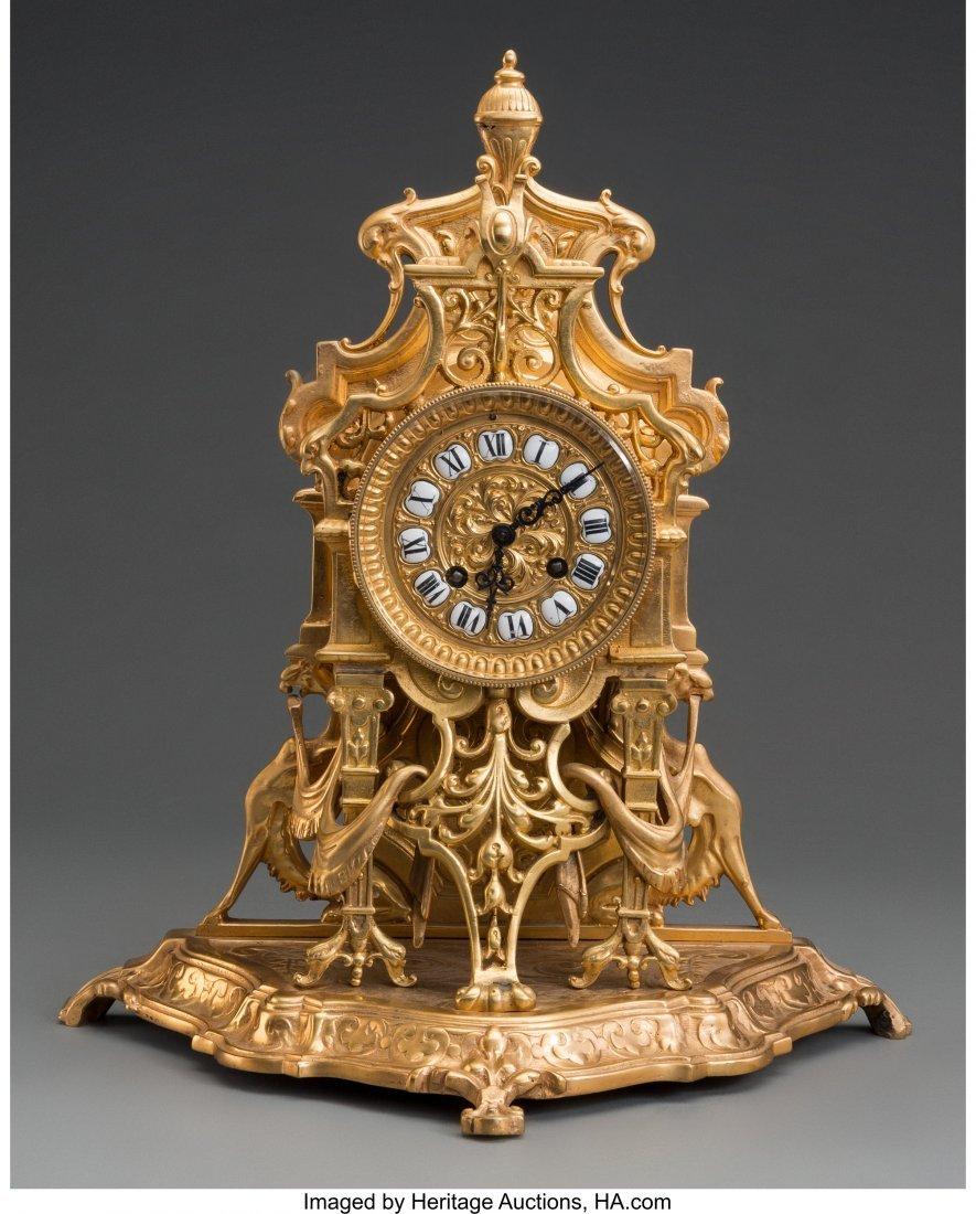 61473: A Louis XV-Style Gilt Bronze Clock, third quarte