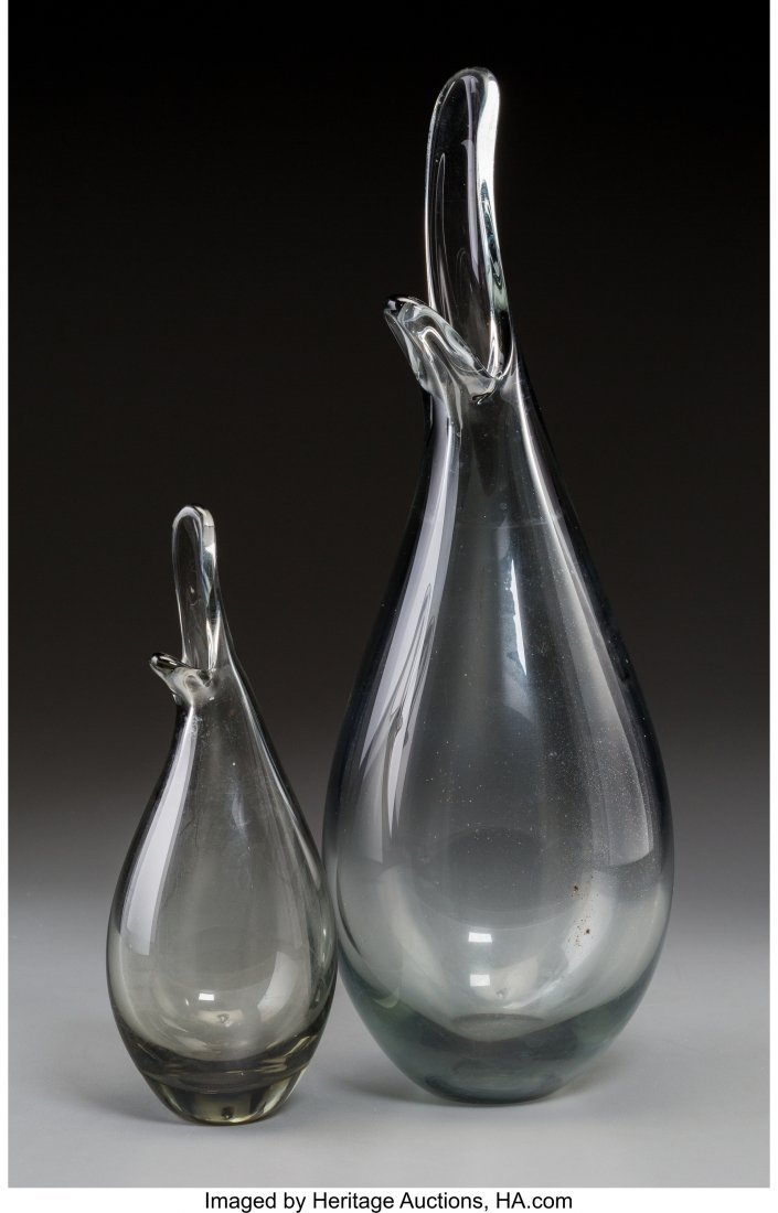 61261: A Pair of Holmegaard Grey Tinted Glass Gooseneck