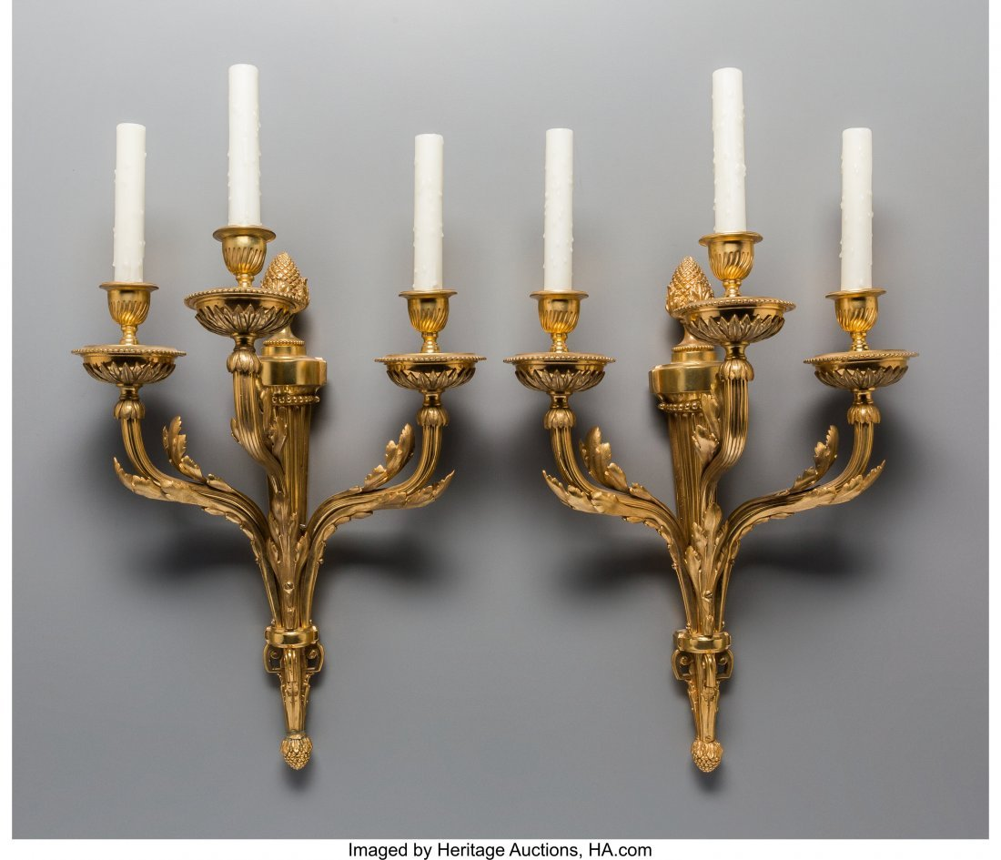 61497: A Pair of Louis XVI-Style Gilt Bronze Three-Ligh