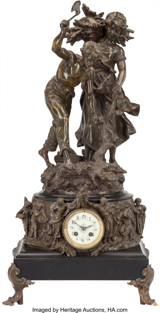 61502: A French Beaux Arts Figural Mantel Clock, early