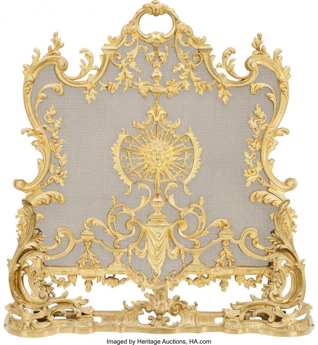 61505: A Louis XV-Style Gilt Bronze Firescreen and Fend