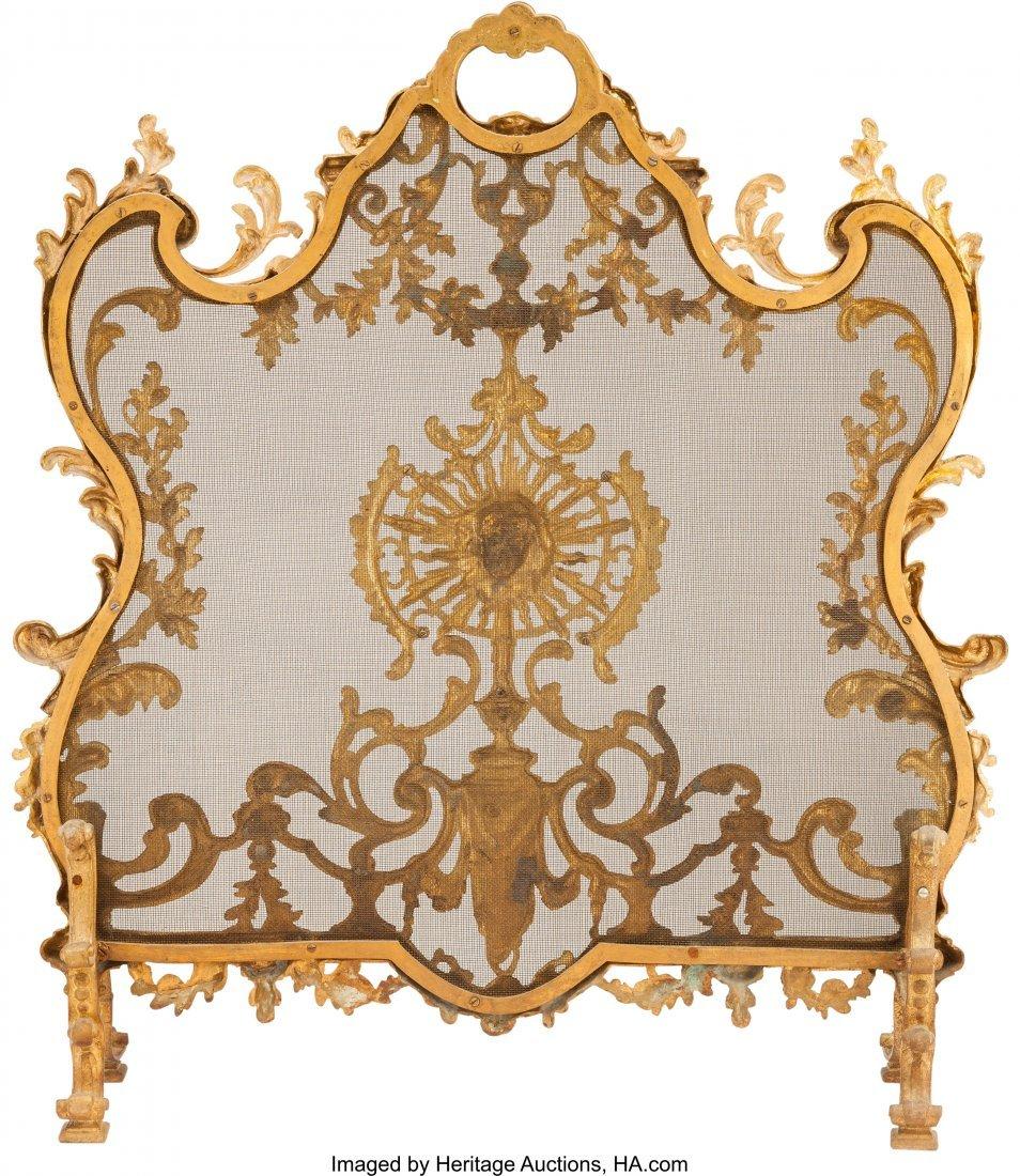 61505: A Louis XV-Style Gilt Bronze Firescreen and Fend - 3
