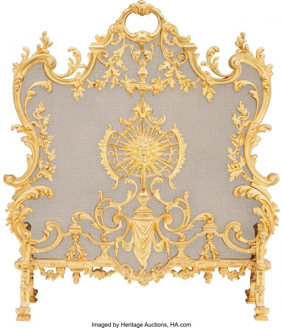 61505: A Louis XV-Style Gilt Bronze Firescreen and Fend - 5