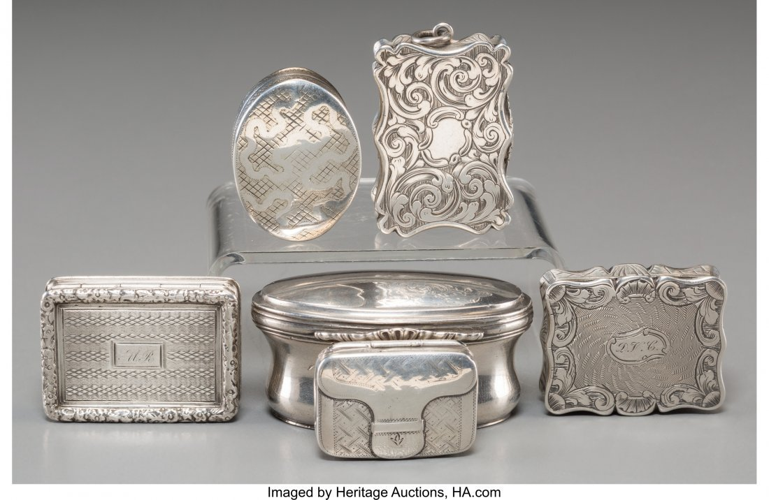61366: Six English Silver Vinaigrettes, 18th century an