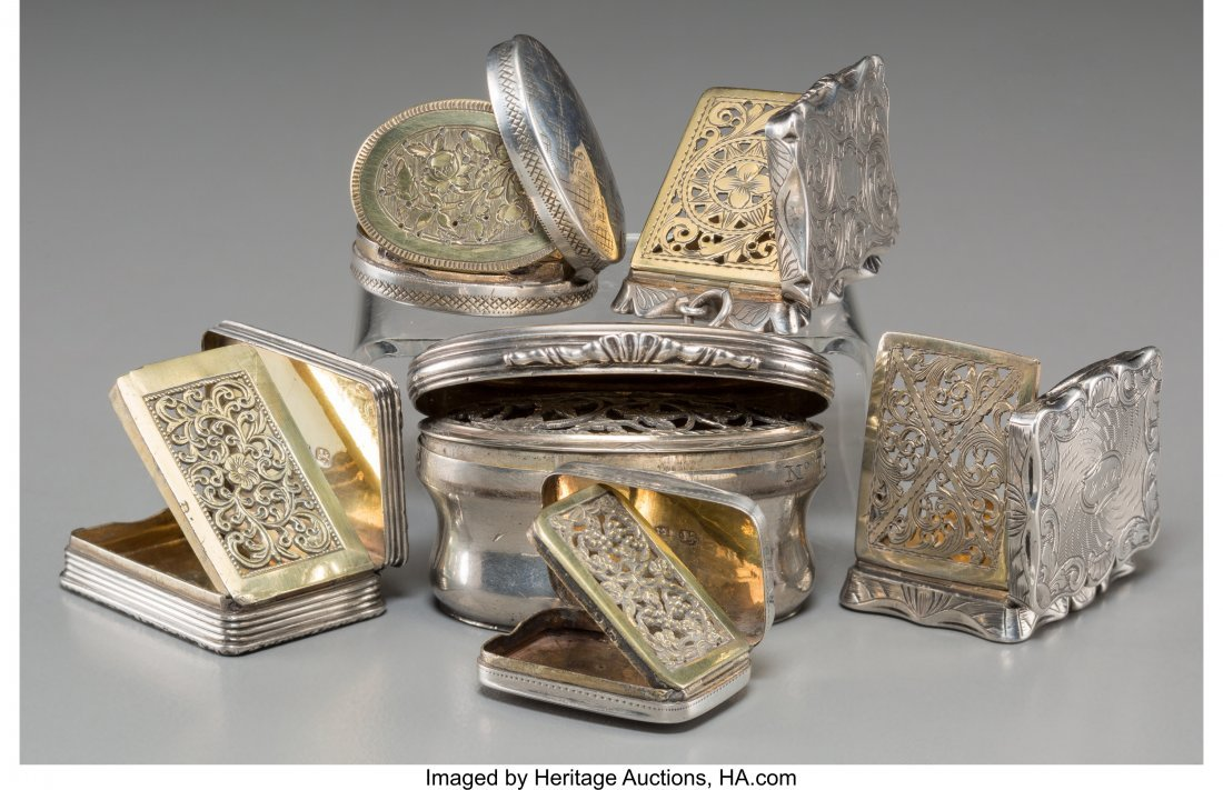 61366: Six English Silver Vinaigrettes, 18th century an - 2