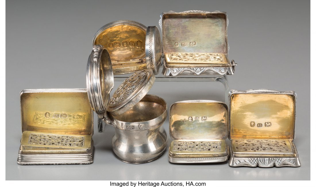 61366: Six English Silver Vinaigrettes, 18th century an - 3