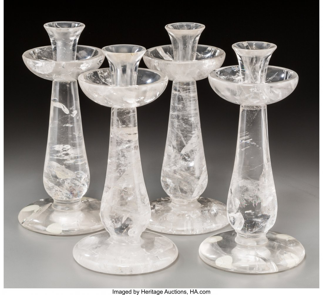 61598: Four Carved Rock Crystal Candlesticks, 21st cent - 2