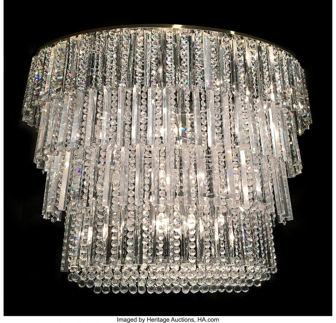 61599: A Large Modern Baccarat Cut Crystal Five-Tiered