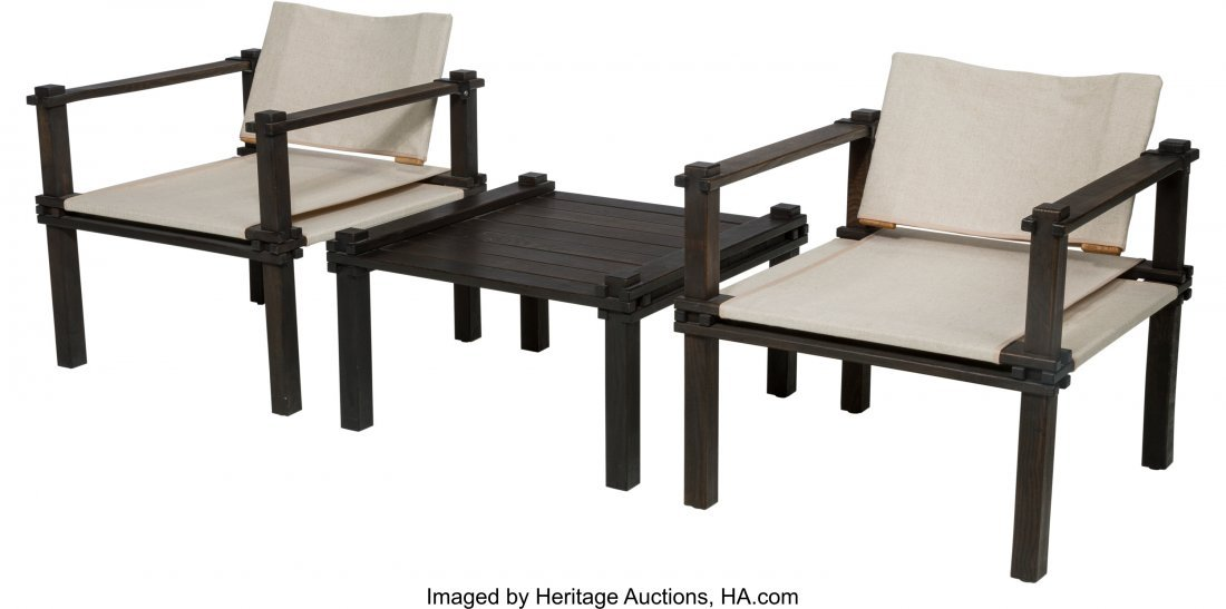 61602: A Pair of Mid-Century Safari Chairs with Matchin