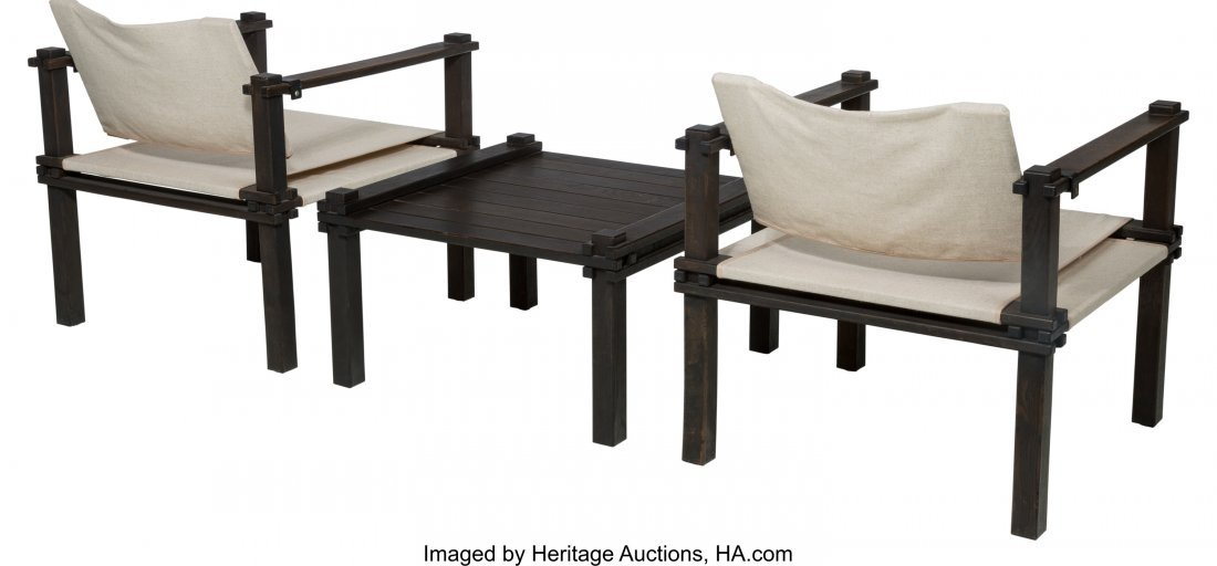 61602: A Pair of Mid-Century Safari Chairs with Matchin - 2