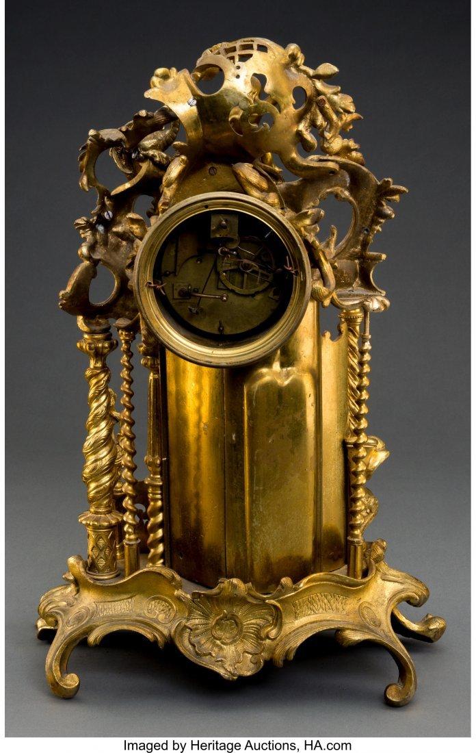 61518: A Louis XV-Style Gilt Bronze Figural Mantel Cloc - 2