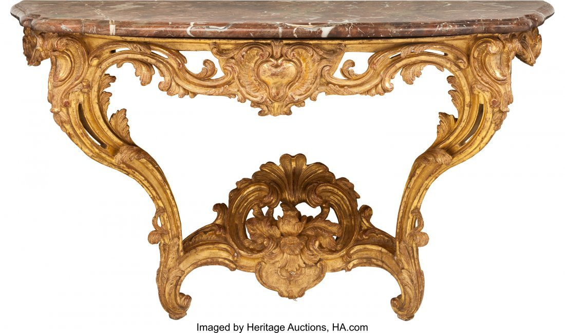 61529: A Pair of Italian Louis XV-Style Carved Giltwood