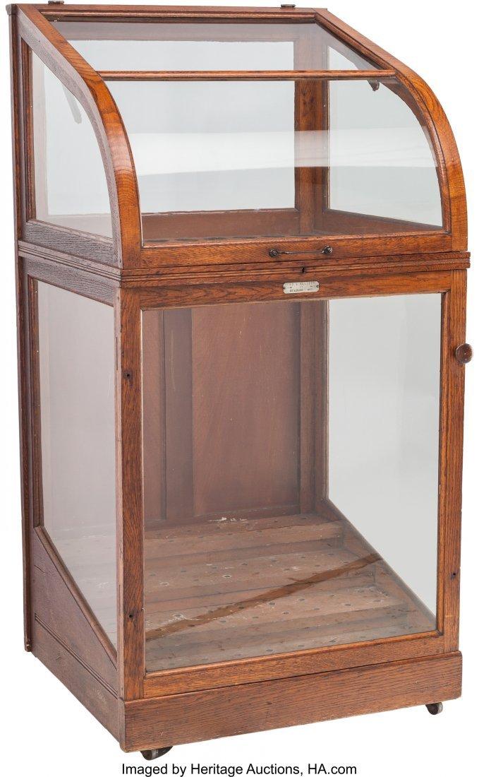 61771: An American Oak and Glazed Walking Stick Display