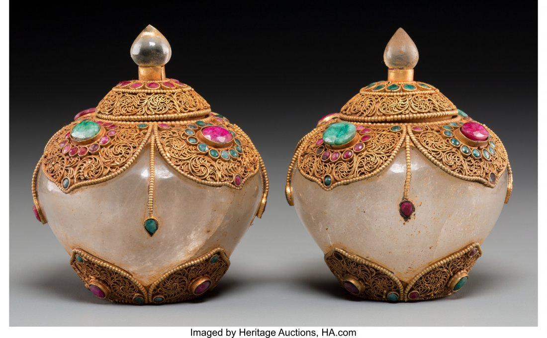 61774: A Pair of Mughal-Style Rock Crystal, Gilt Metal,