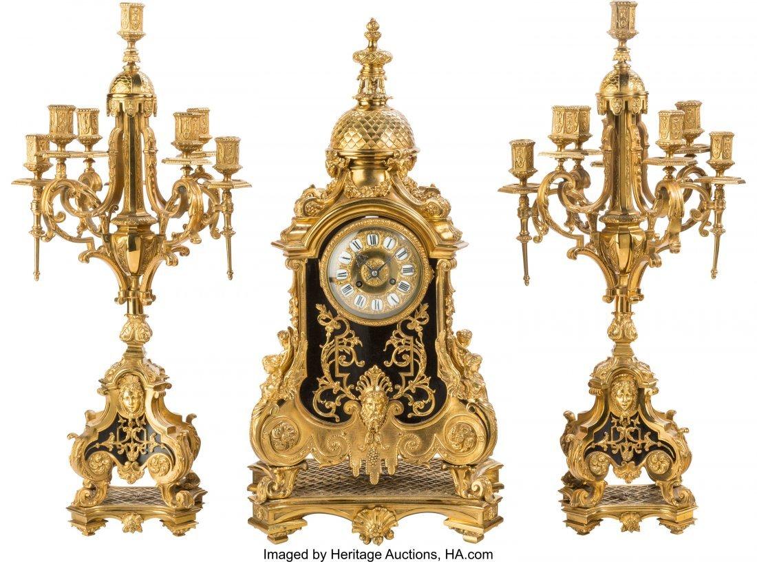 61539: A Large Louis XVI-Style Bronze Three-Piece Clock
