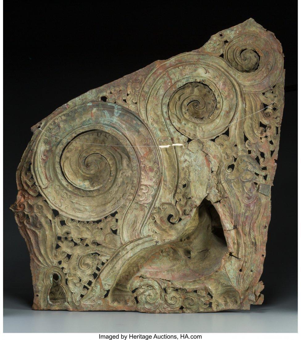 61782: A Tibetan Gilt Copper and Repousse Makara Panel, - 2
