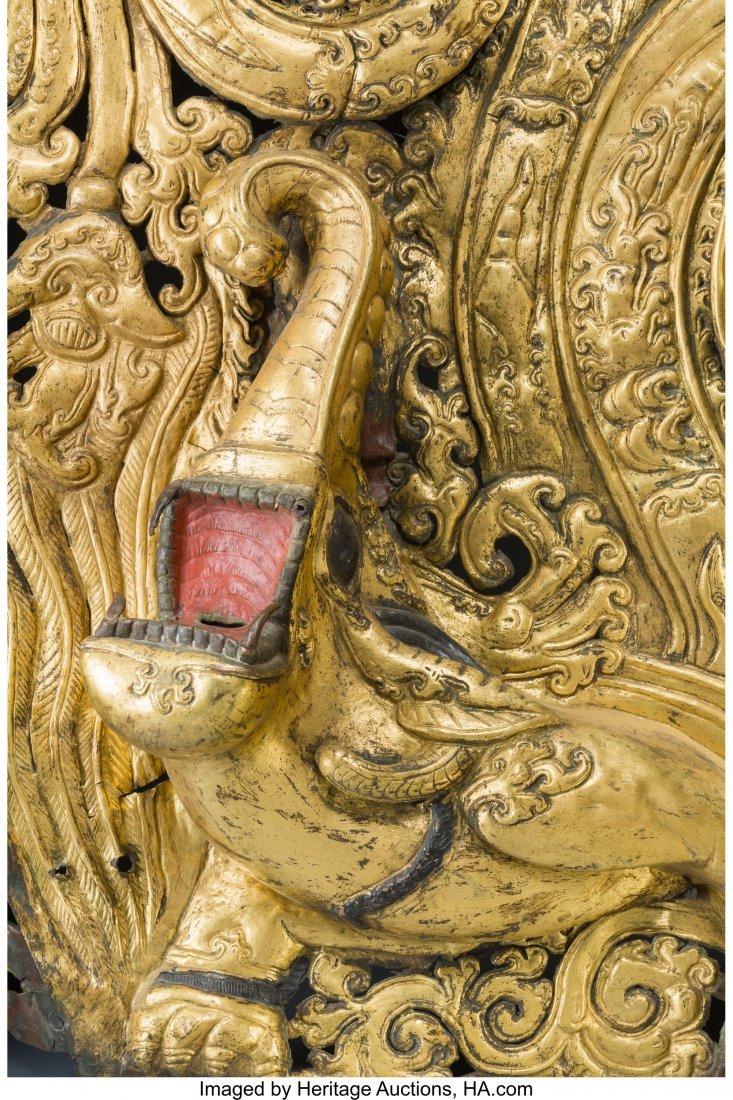 61782: A Tibetan Gilt Copper and Repousse Makara Panel, - 3