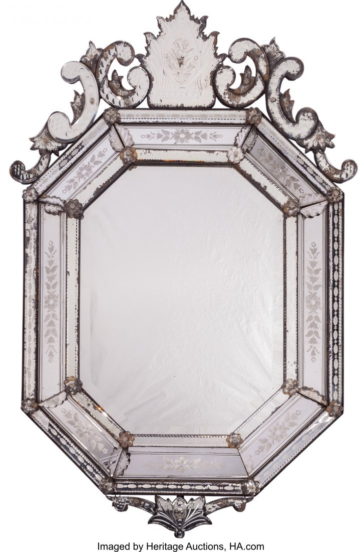 61555: A Large Venetian Glass Mirror, 19th century 49 i