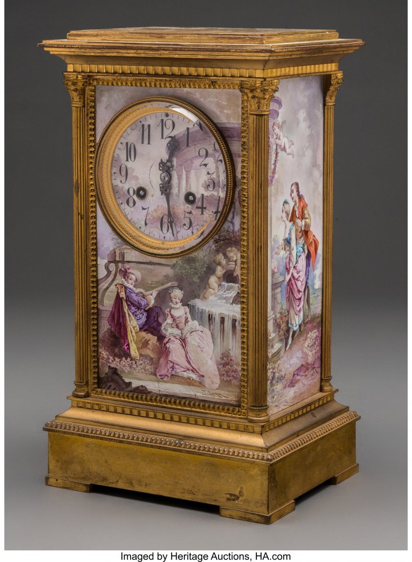 61559: A Louis XVI-Style Gilt Bronze and Enameled Mante