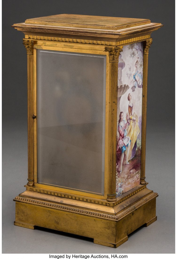 61559: A Louis XVI-Style Gilt Bronze and Enameled Mante - 2