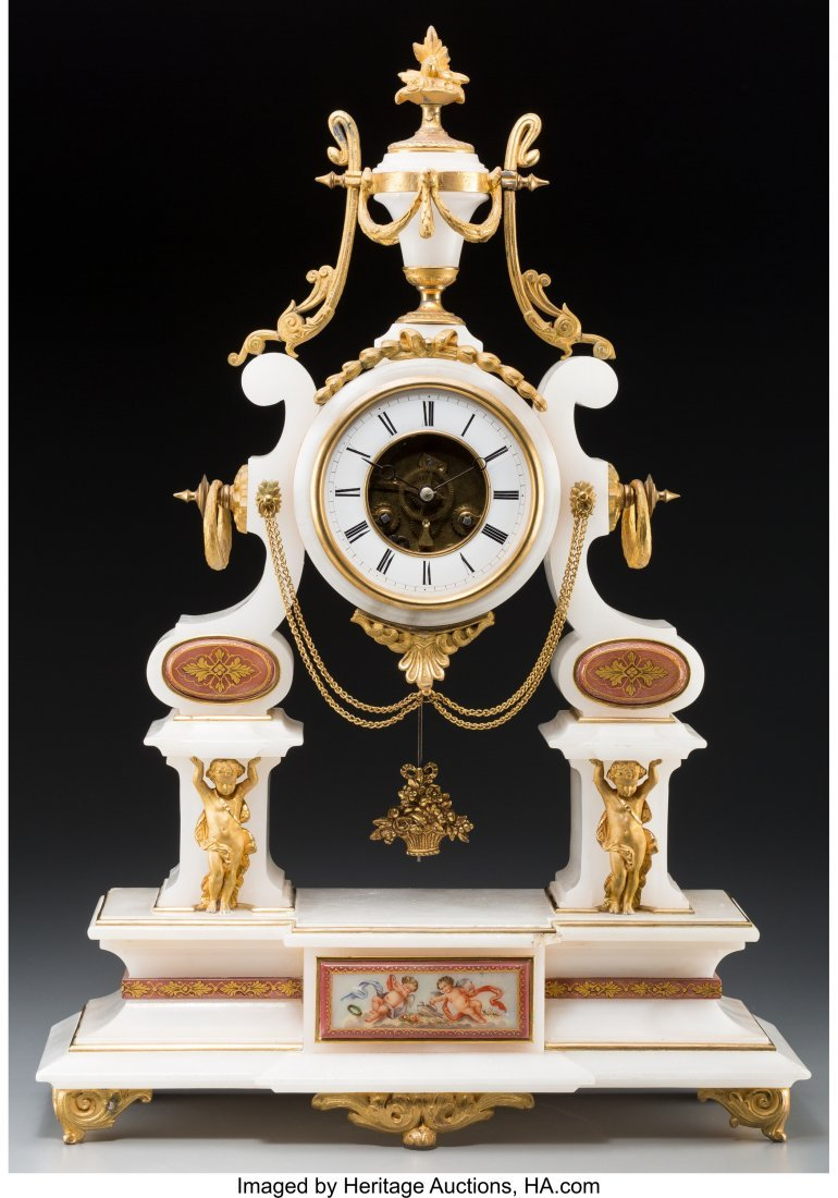 61560: A Louis XVI-Style Gilt Bronze and Marble Clock w